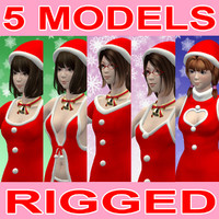 rigged girls christmas 3d max