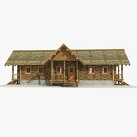 3d wooden log cabin