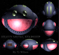3d spaceship heavy metal model