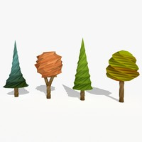 cartoon trees 3d fbx