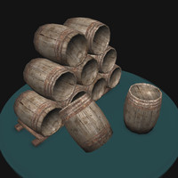 Wood barrel - game ready