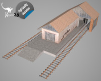 industrial train station 3d obj