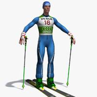 skier skis 3d max