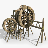 water wheel waterwheel 3d obj