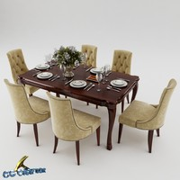 3d max dining table set
