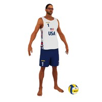 3d beach volleyball player