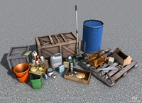 pack low-poly props 3d x