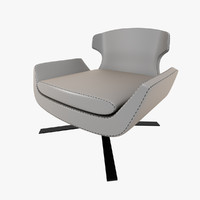 3d model armchair light grey leather