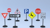 8 traffic signs uv layout 3d model