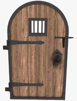 medieval dungeon door metal 3d obj