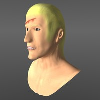 free long haired man 3d model