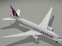 boeing 777-200 lr qatar 3d model