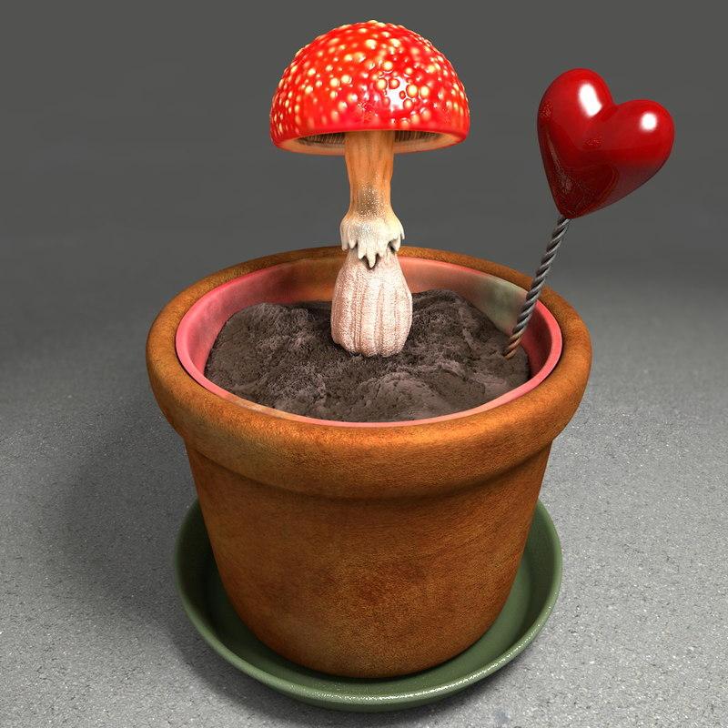 C4d soil pot mushroom for Soil 3d model
