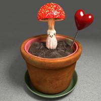 c4d soil pot mushroom