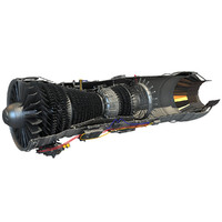3d model pratt afterburning turbofan engine