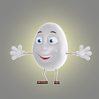 cartoon egg 3d obj