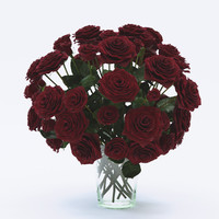 3d model rose red flower bouquet