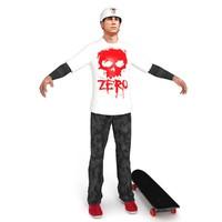 3d skater skateboard ready model