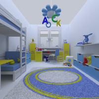 3d model kids room deco
