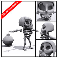 zombie skeleton character cartoony 3d max
