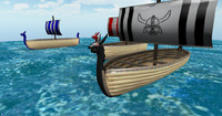 viking ships 3d model