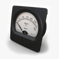 vintage dc voltmeter 02 3d model