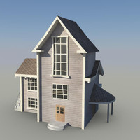3d model of cartoon background house