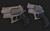 3d revolver handpainted