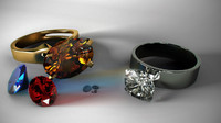 gold silver ring 3d obj