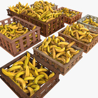 Banana Fruit Crates Cases Market Store Shop Convenience General Grocery Greengrocery Detail Prop Fair Plantation Jungle South Plant Garden Greenhouse