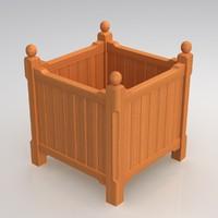 3d model wooden planter