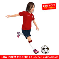 soccer girl rigged 3d max