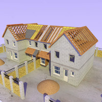 3d semi detached house construction
