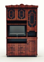 Library Bookcase with Doors and TV