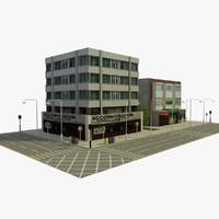 3d city block 7 street model