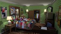 3d stylized cartoon room model