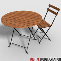 set table furniture bistros 3d obj