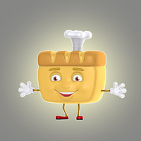 cartoon bread 3d model
