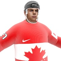 3d ice hockey player canada model