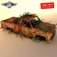 wrecked car 3d obj