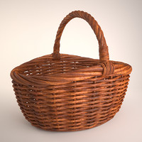 wicker basket 3 3d model