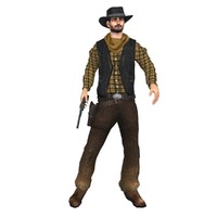 3d model wild west cowboy rigged hand