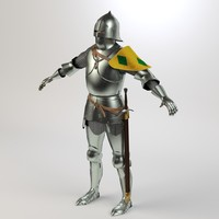 century knight armour character 3d 3ds