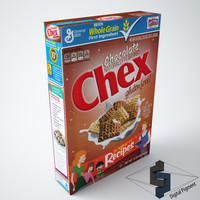 chocolate chex cereal box 3d model