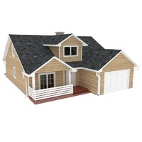 3d classic single family house model