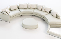 Curved sectional leather sofa