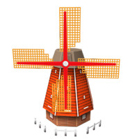 3d model of windmill wind