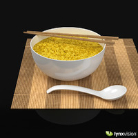 max white bowl rice bamboo