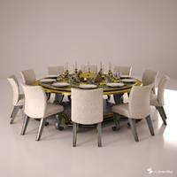 3d dinner set model