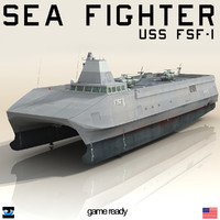 USS Sea Fighter FSF 1 with two SH60 Sea Hawk